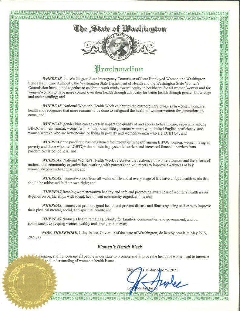 Women's Health Week proclamation 2021